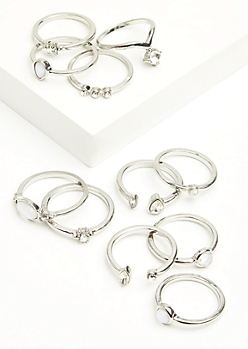 11-Pack Silver Gem Ring Set
