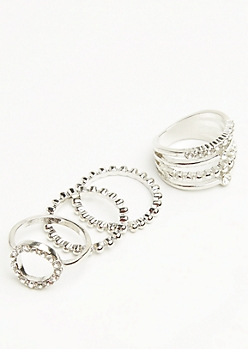 4-Pack Silver Gem Stacking Ring Set