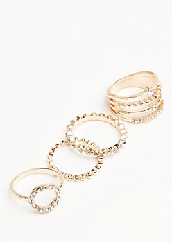 4-Pack Rose Gold Gem Stacking Ring Set