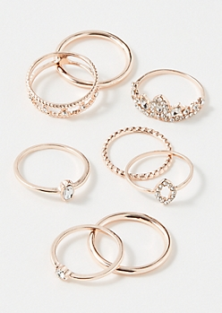 8-Pack Rose Gold Princess Ring Set