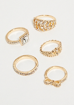5-Pack Gold Leaf Accent Ring Set