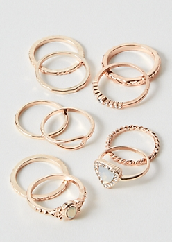 10-Pack Rose Gold Opal Stone Ring Set