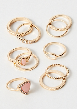 10-Pack Gold Pink Boho Ring Set