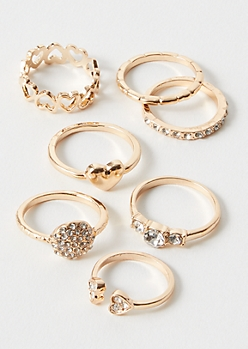 7-Pack Gold Heart Stone Ring Set