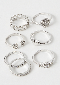 7-Pack Silver Heart Stone Ring Set