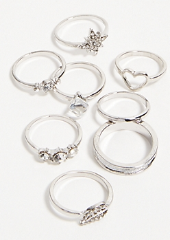 8-Pack Silver Heart Cube Ring Set