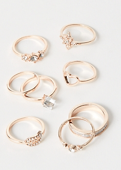 8-Pack Rose Gold Heart Cube Ring Set