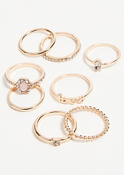 8-Pack Gold Pink Oval Ring Set