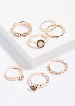 7-Pack Rose Gold Stackable Rings