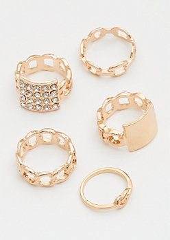 5-Pack Gold Link Pendant Ring Set