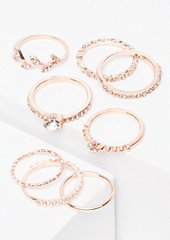 8-Pack Rose Gold Gemstone Leaf Ring Set