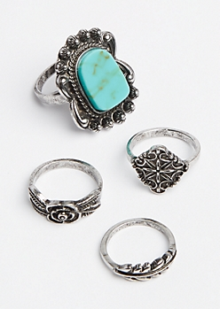 4-Pack Turquoise Stackable Rings