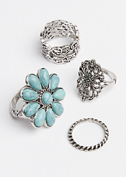 4-Pack Flower Stackable Rings