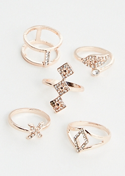 5-Pack Rose Gold Diamond Ring Set