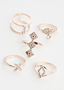 5-Pack Rose Gold Diamond Ring Set