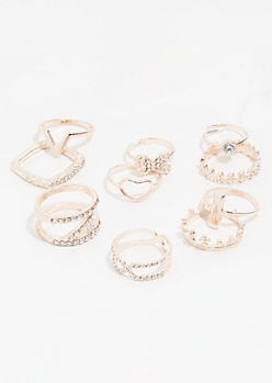 10-Pack Rose Gold Chevron Ring Set