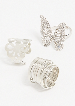 3-Pack Silver Butterfly Ring Set