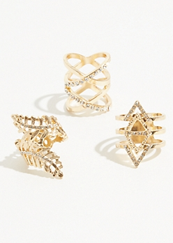 3-Pack Gold Wrap Leaf Ring Set