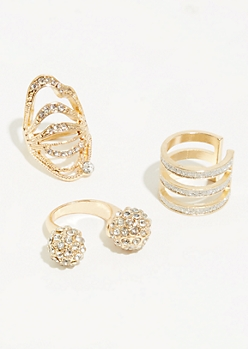 3-Pack Gold Gem Cluster Ring Set