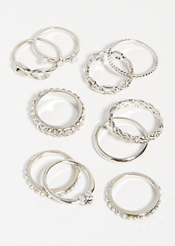 10-Pack Silver Infinity Ring Set
