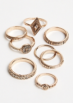 9-Pack Gold Boho Ring Set