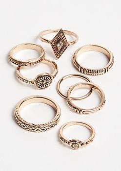 9-Pack Gold Boho Ring Set