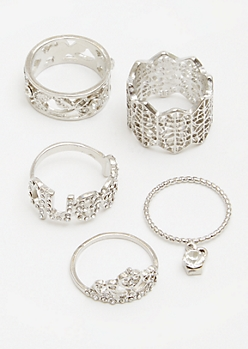 5-Pack Antique Silver Queen Crown Ring Set