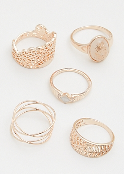5-Pack Rose Gold Glitter Ring Set