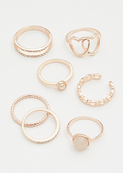 7-Pack Rose Gold Linked Heart Ring Set