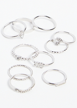 10-Pack Silver Elephant Ring Set
