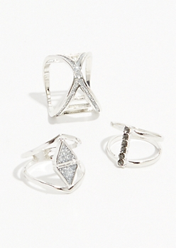 3-Pack Silver Glitter Gem Ring Set
