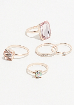 5-Pack Rose Gem Ring Set