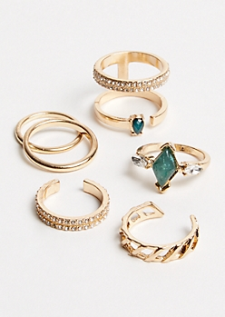 6-Pack Gold Green Stone Ring Set