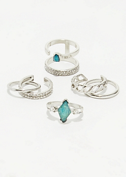 Silver Blue Gem Ring Set
