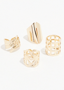 4-Pack Gold Wrapped Leaf Ring Set