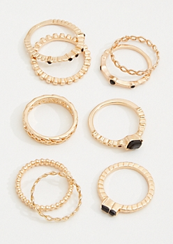 9-Pack Gold Twisted Black Gemstone Ring Set
