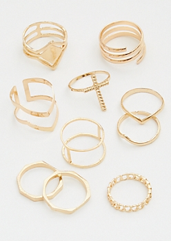 10-Pack Gold Cross Ring Set