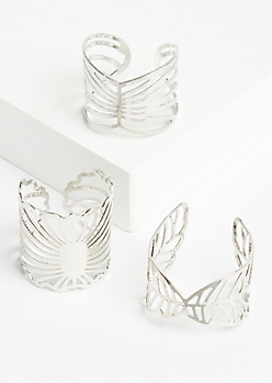 3-Pack Silver Leaf Filigree Stacking Ring Set