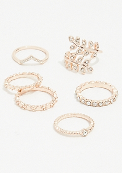 7-Pack Rose Gold Wrap Leaf Ring Set