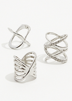 3-Pack Silver X Gem Ring Set