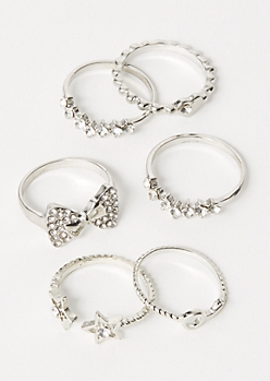 6-Pack Silver Double Star Ring Set