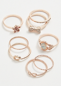 8-Pack Rose Gold Flower Bow Ring Set