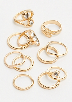 7-Pack Gold Twirl Gemstone Ring Set