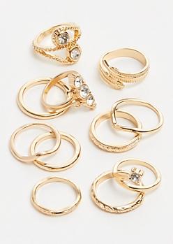 7-Pack Gold Twirl Gemstone Ring Set