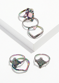 6-Pack Iridescent Dark Enamel Ring Set