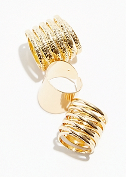 3-Pack Gold Coil Ring Set