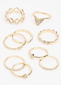 9-Pack Gold Diamond Gemstone Ring Set