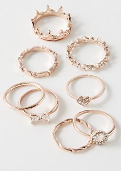 8-Pack Rose Gold Crown Gemstone Ring Set