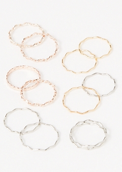 11-Pack Mixed Metal Zig Zag Twist Ring Set