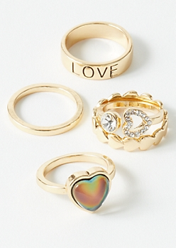 5-Pack Gold Heart Mood Ring Set